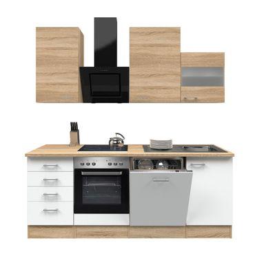 Küchenzeile ROM - Küche mit E-Geräten - 13-teilig - Breite 220 cm - Weiß