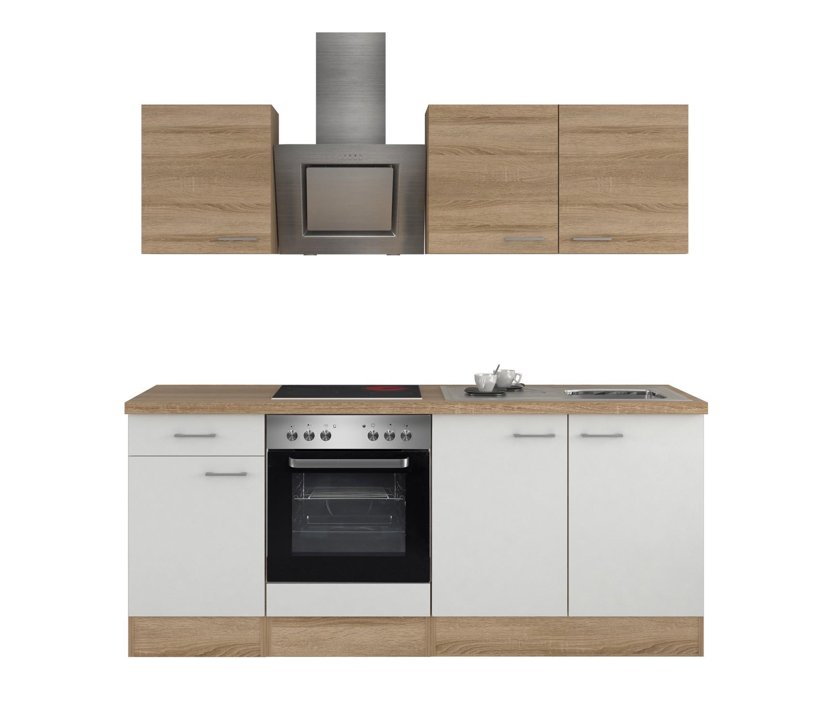 Küchenzeile ROM Küchenblock 210 cm weiss / sonoma Küche mit Elektro ...