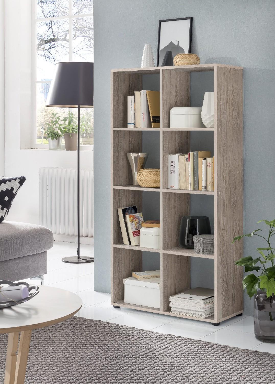 regal maik w rfelsystem 8 f cher eiche sonoma wohnen regale. Black Bedroom Furniture Sets. Home Design Ideas