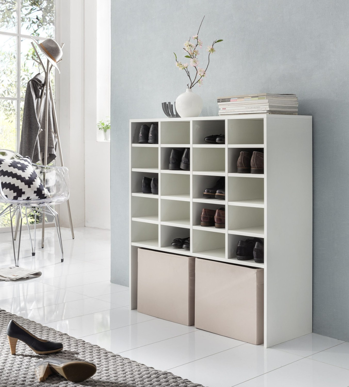 schuh regal emmy f r bis zu 20 paar schuhe wei wohnen. Black Bedroom Furniture Sets. Home Design Ideas