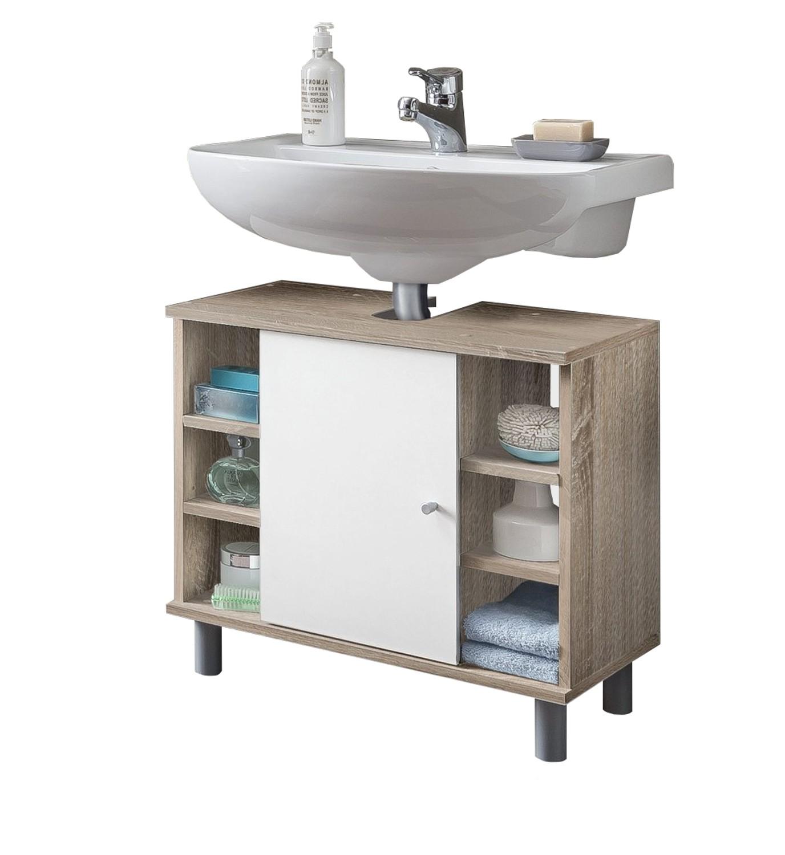 bad waschbeckenunterschrank lindau 1 t rig 6 f cher 60 cm breit wei eiche sonoma bad. Black Bedroom Furniture Sets. Home Design Ideas