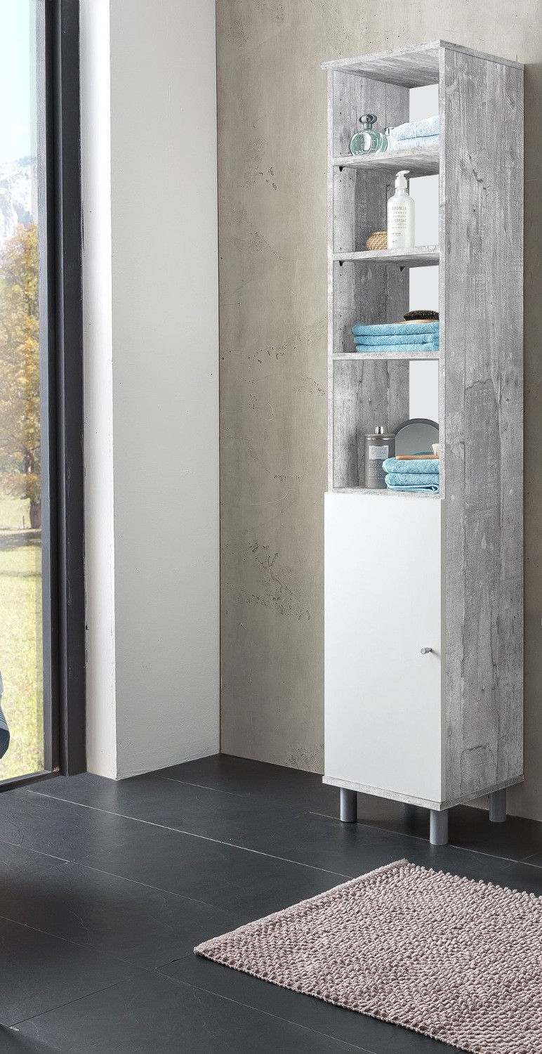 badezimmer hochschrank lindau seitenschrank badschrank 35 cm weiss beton grau ebay. Black Bedroom Furniture Sets. Home Design Ideas