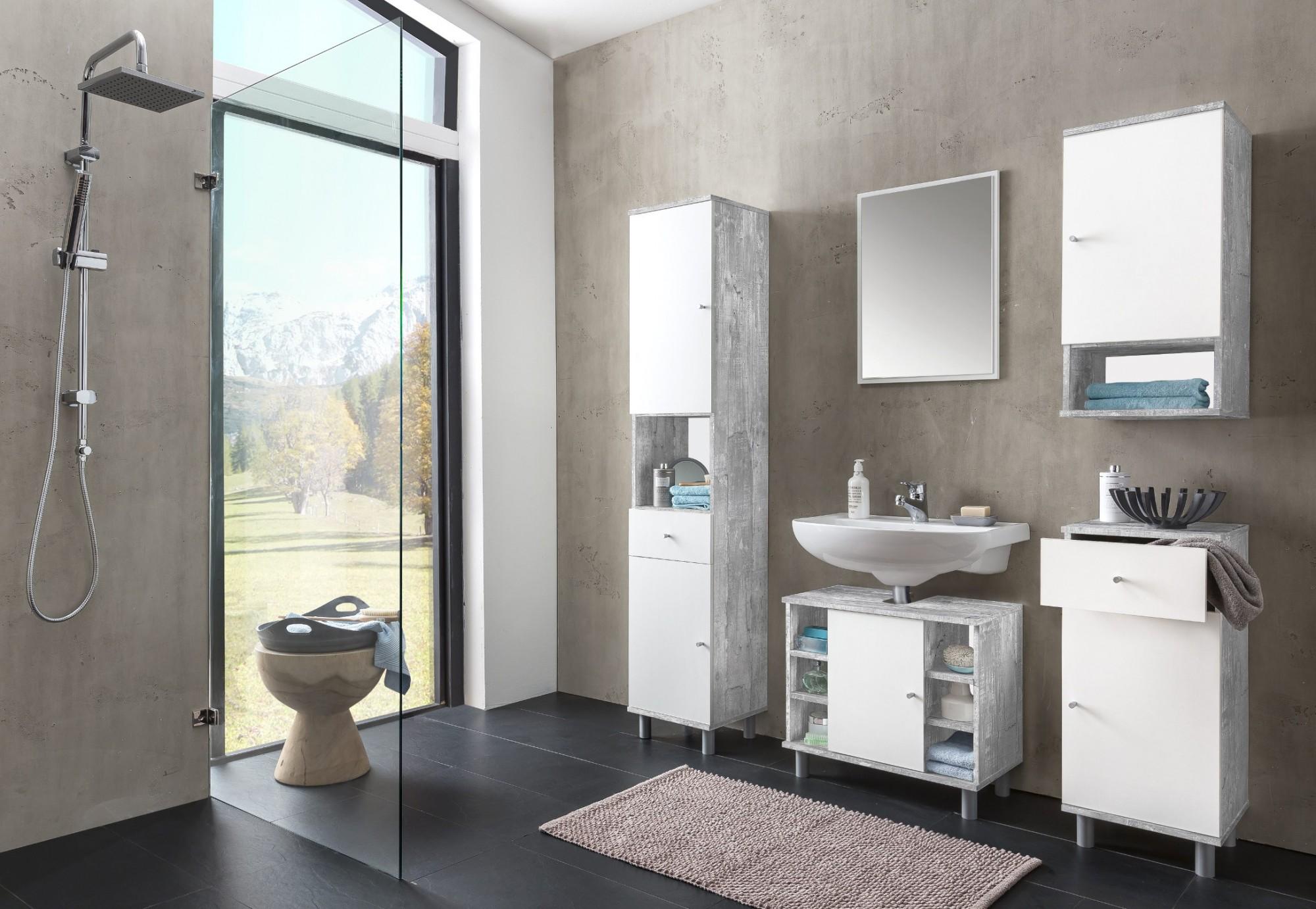 bad unterschrank lindau 1 t rig 1 schublade 35 cm breit wei beton grau bad bad. Black Bedroom Furniture Sets. Home Design Ideas