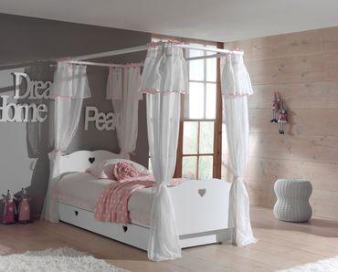 Himmelbett AMORI mit Bett-Vorhang und Bettschublade - Liegefläche 90 x 200 cm - Weiß