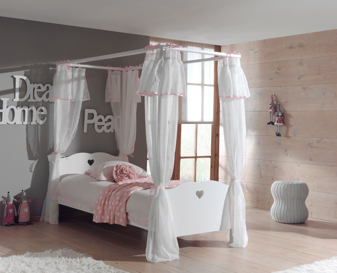 himmelbett amori mit bett vorhang liegefl che 90 x 200 cm wei kinder jugendzimmer betten. Black Bedroom Furniture Sets. Home Design Ideas