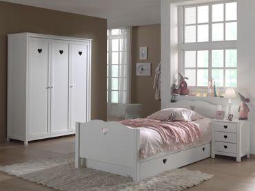 Jugendzimmer AMORI - komplett mit Einzelbett, Bettschublade, Kleiderschrank 3-türig und Nachtkonsole