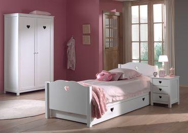 Jugendzimmer AMORI - komplett mit Einzelbett, Bettschublade, Kleiderschrank 2-türig und Nachtkonsole