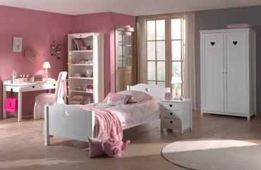 Jugendzimmer AMORI - komplett mit Einzelbett, Kleiderschrank 2-türig, Nachtkonsole, Schreibtisch und Regal
