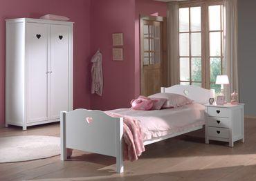 Jugendzimmer AMORI - komplett mit Einzelbett, Kleiderschrank 2-türig und Nachtkonsole