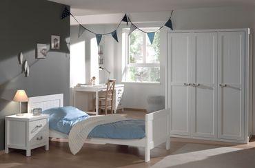 Jugendzimmer LEWIS - komplett mit Einzelbett, Kleiderschrank 3-türig, Schreibtisch und Nachtkonsole
