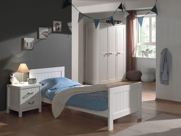 Jugendzimmer LEWIS - komplett mit Einzelbett, Kleiderschrank 3-türig und Nachtkonsole