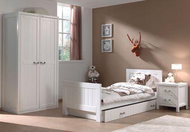 Jugendzimmer LEWIS - komplett mit Einzelbett, Bettschublade, Kleiderschrank 2-türig und Nachtkonsole
