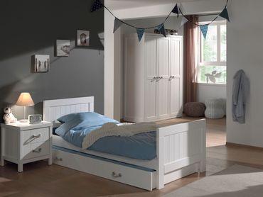 Jugendzimmer LEWIS - komplett mit Einzelbett, Bettschublade, Kleiderschrank 3-türig und Nachtkonsole