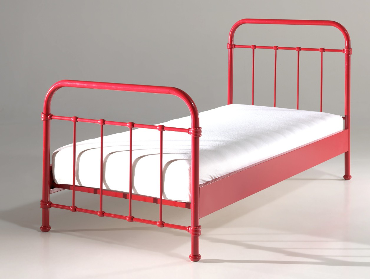 metallbett new york einzelbett mit lattenrost liegefl che 90 x 200 cm rot 5420070217101 ebay. Black Bedroom Furniture Sets. Home Design Ideas