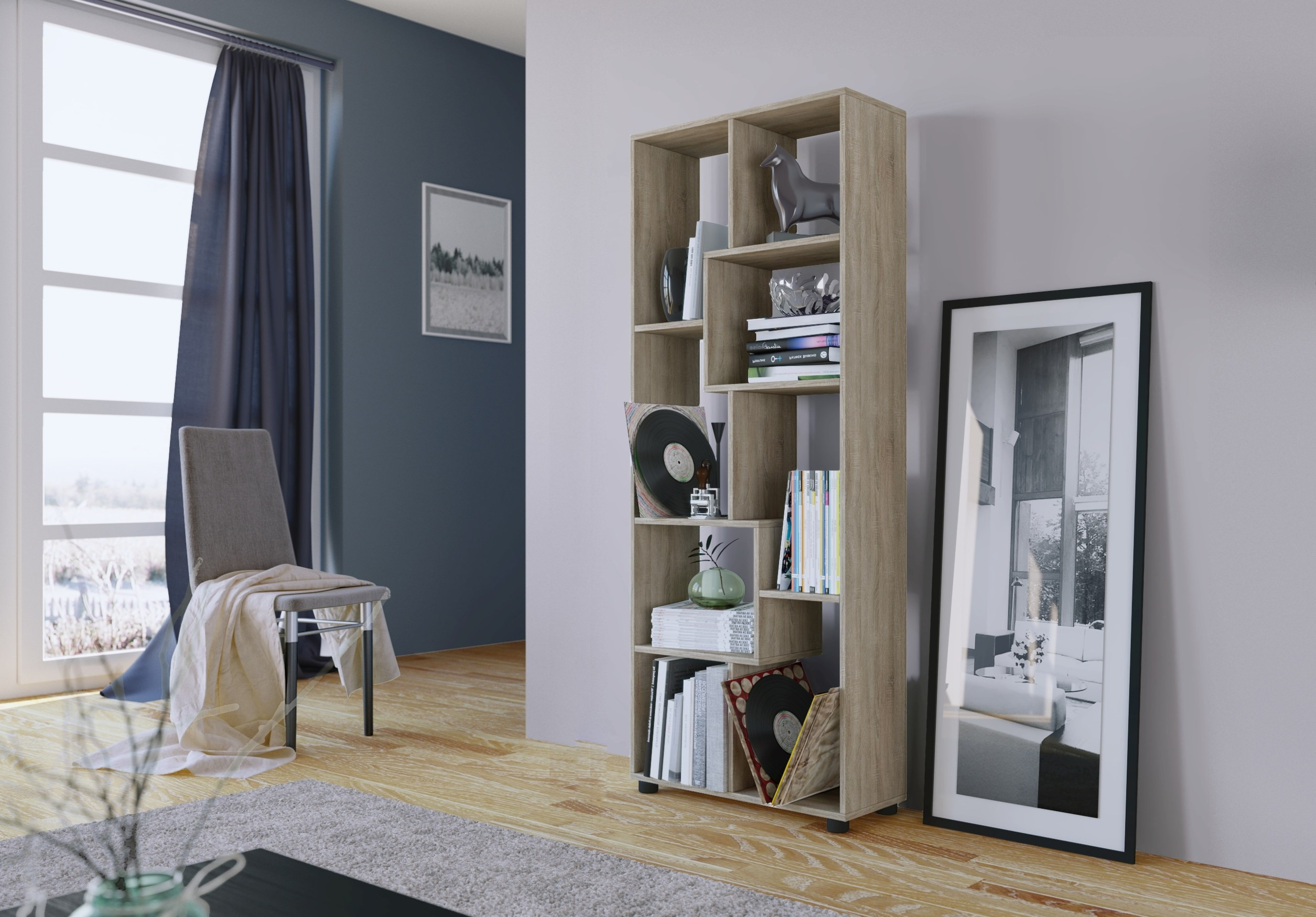 regal pisa 8 f cher eiche sonoma wohnen regale. Black Bedroom Furniture Sets. Home Design Ideas