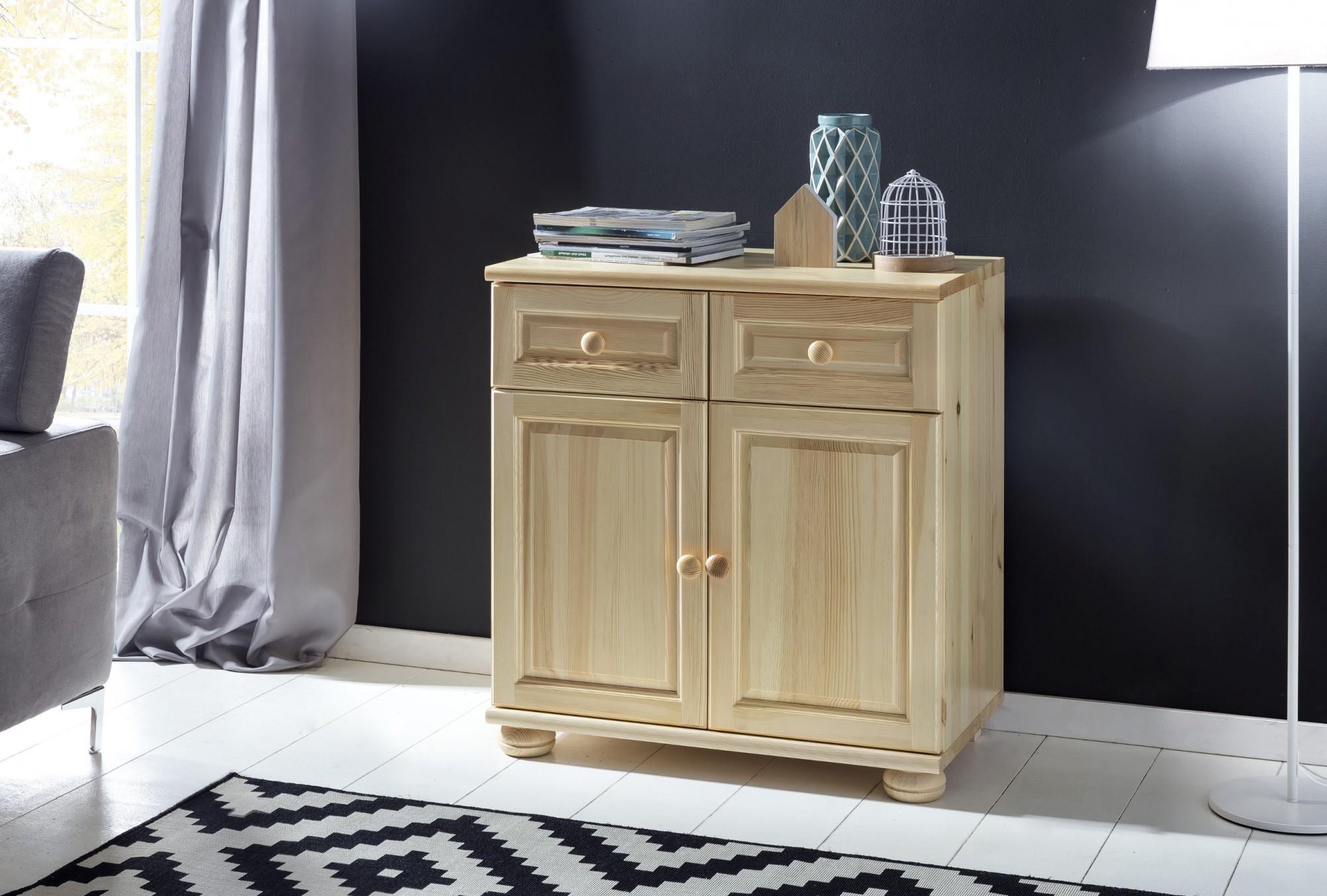 kommode vienna highboard schrank 2 t ren 2 schubladen 80 cm massivholz kiefer ebay. Black Bedroom Furniture Sets. Home Design Ideas