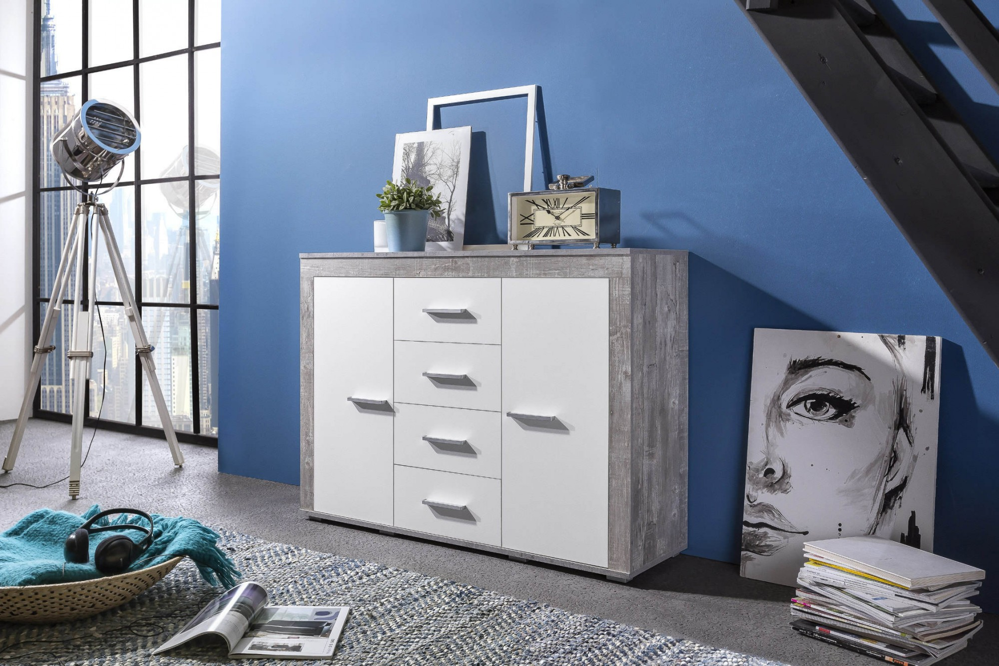 sideboard aosta 120 cm breit 2 t ren 4 schubladen wei beton grau wohnen sideboards. Black Bedroom Furniture Sets. Home Design Ideas