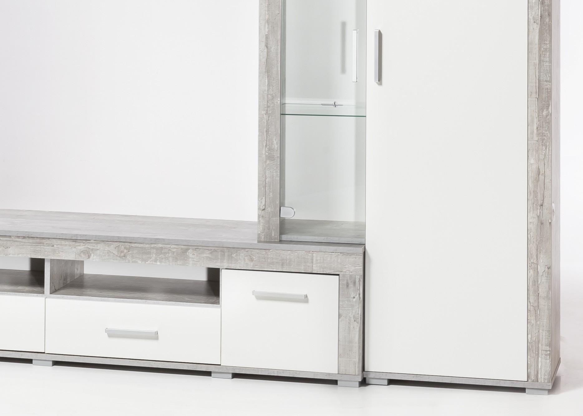 wohnwand malm 5 teilige schrankwand wohnzimmerschrank 280 cm beton grau ebay. Black Bedroom Furniture Sets. Home Design Ideas
