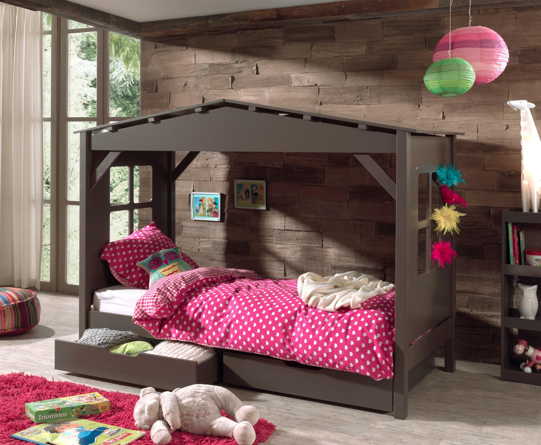 hausbett pino mit 2 bettschubladen liegefl che 90 x 200 cm kiefer anthrazit teilmassiv. Black Bedroom Furniture Sets. Home Design Ideas