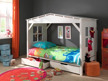 Hausbett PINO - mit 2 Bettschubladen - Liegefläche 90 x 200 cm - Kiefer Weiß teilmassiv