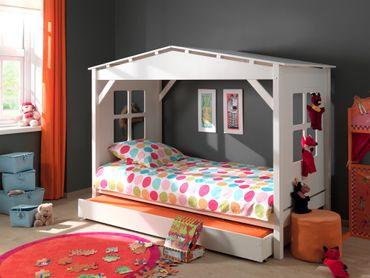 Hausbett PINO - mit Bettschublade - Liegefläche 90 x 200 cm - Kiefer Weiß teilmassiv