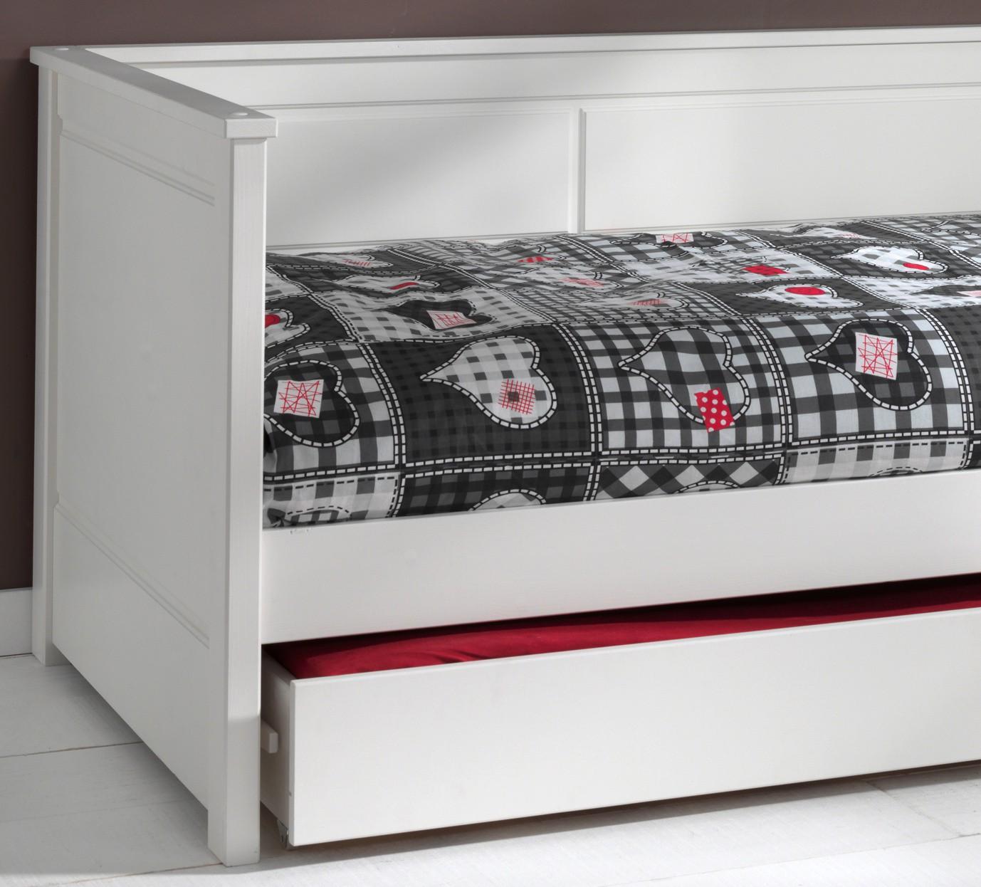 kojenbett pino mit bettschublade liegefl che 90 x 200 cm kiefer wei teilmassiv kinder. Black Bedroom Furniture Sets. Home Design Ideas