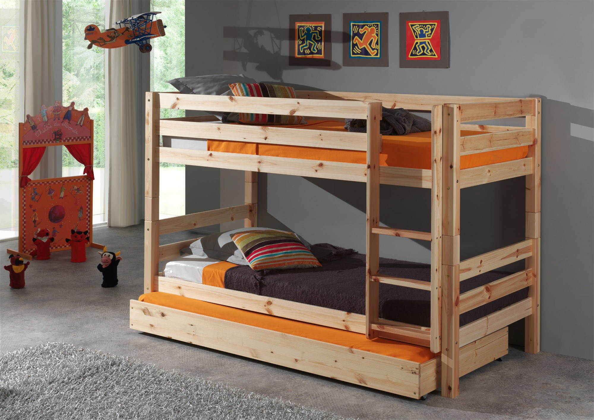 etagenbett pino mit bettschublade 2 liegefl chen 90 x. Black Bedroom Furniture Sets. Home Design Ideas