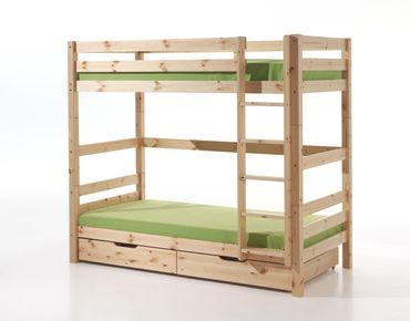 Etagenbett PINO - mit 2 Bettschubladen - 2 Liegeflächen - 182 cm hoch - Kiefer Massiv