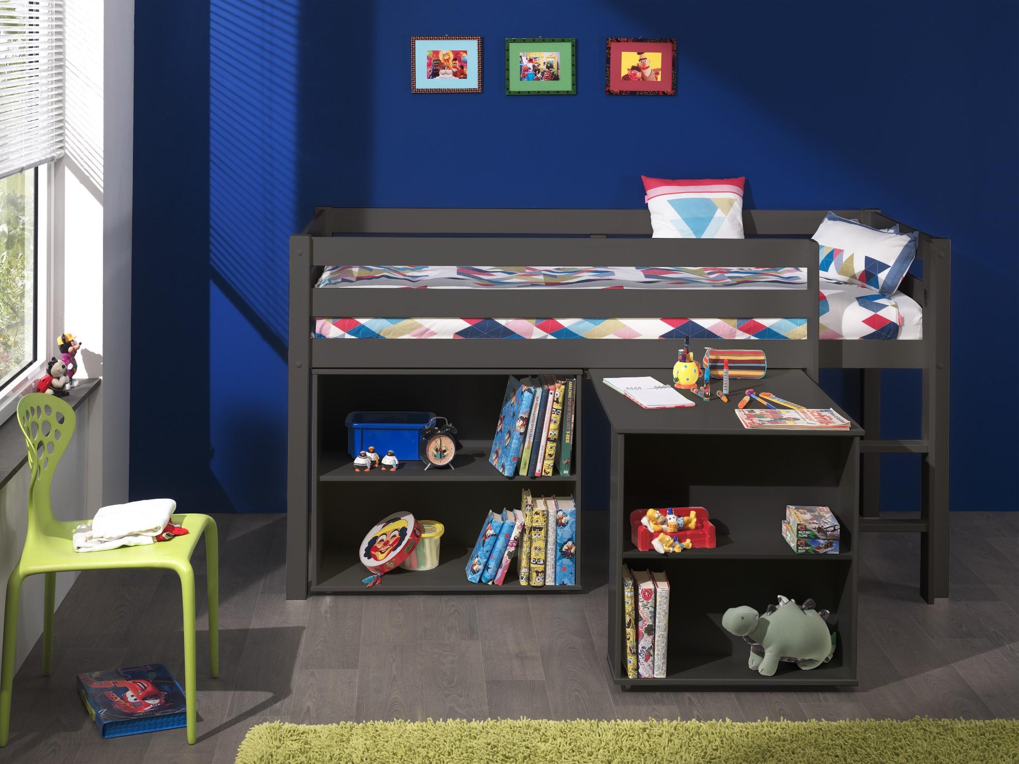 Funktions hochbett pino mit schreibtisch und regal for Schreibtisch naturholz