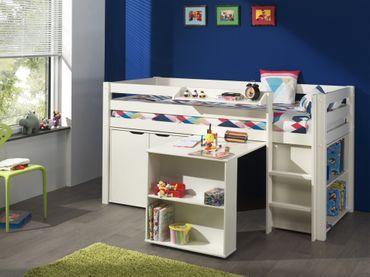 Funktions-Hochbett PINO mit Schreibtisch und Kommode - Kiefer Weiß teilmassiv
