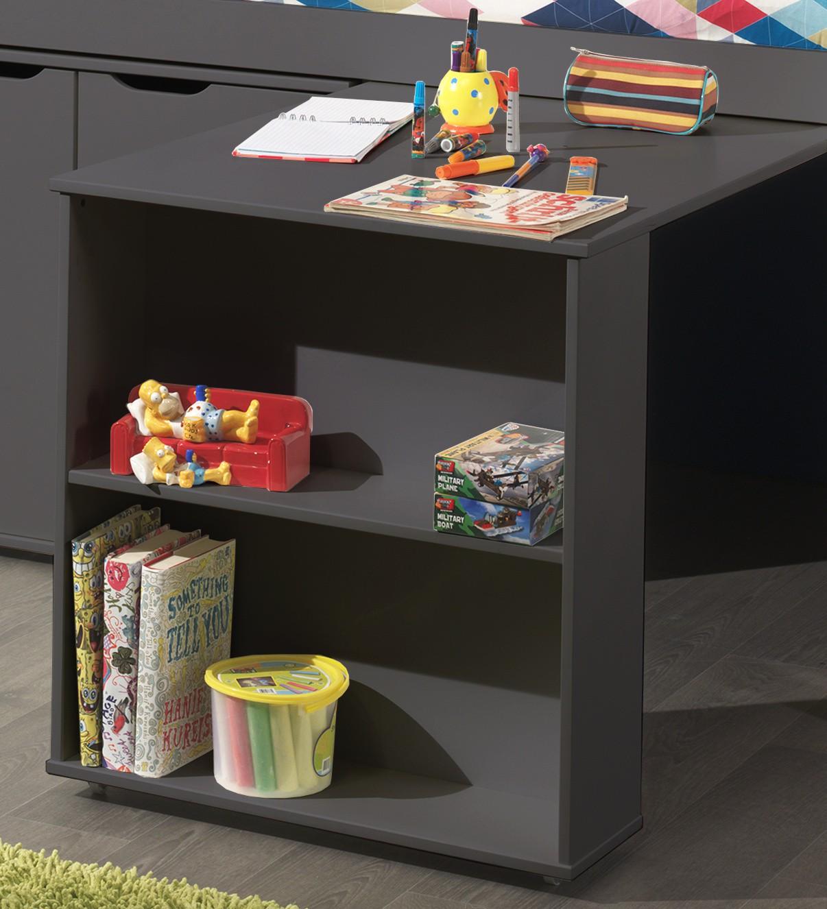 funktions hochbett pino mit schreibtisch und kommode kiefer anthrazit teilmassiv kinder. Black Bedroom Furniture Sets. Home Design Ideas