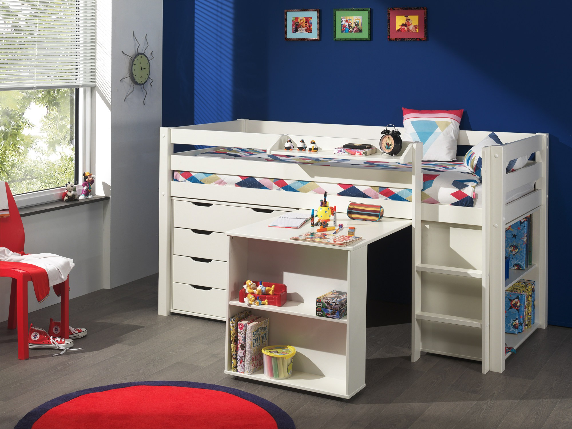funktions hochbett pino mit kommode 4 schubladen kiefer wei teilmassiv kinder. Black Bedroom Furniture Sets. Home Design Ideas