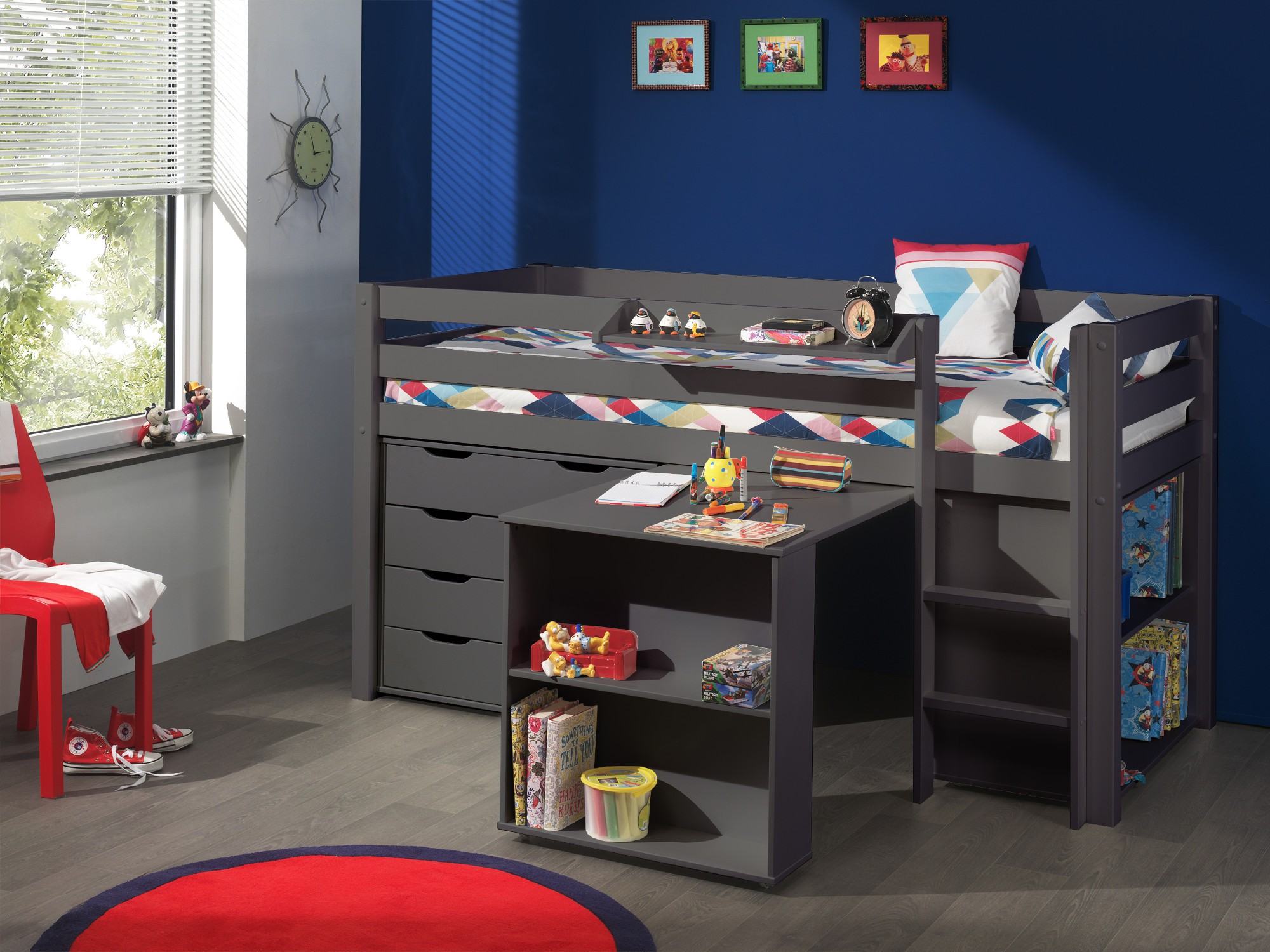 funktions hochbett pino mit kommode 4 schubladen kiefer anthrazit teilmassiv kinder. Black Bedroom Furniture Sets. Home Design Ideas