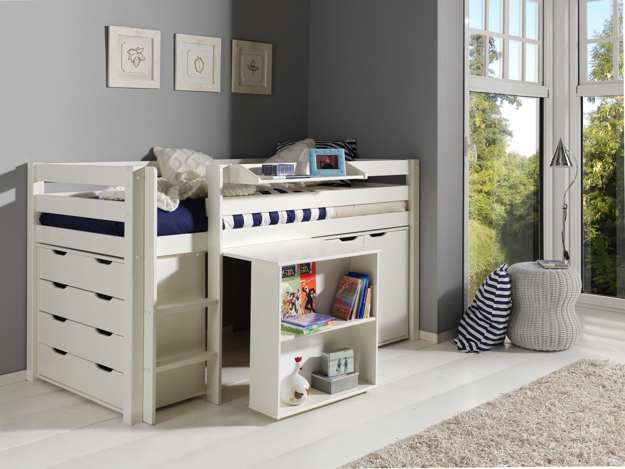 Etagenbett Mit Schreibtisch Und Kommode : Funktions hochbett pino mit schreibtisch und kommoden kiefer