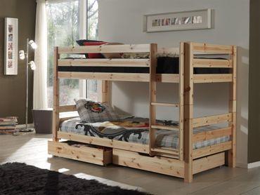 Etagenbett PINO - mit 2 Bettschubladen - 2 Liegeflächen 90 x 200 cm - Kiefer Massiv