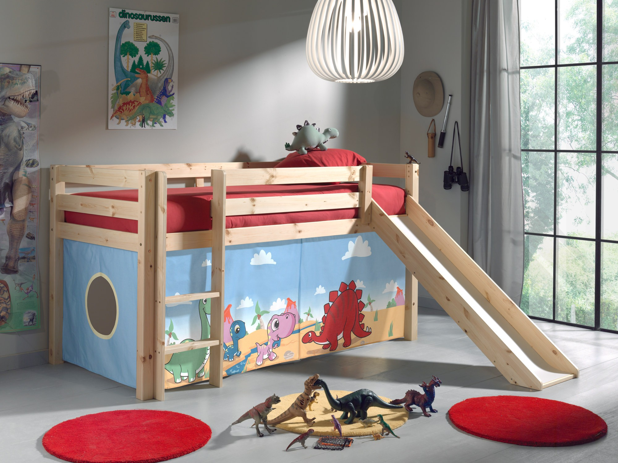 spielbett pino dinos hochbett kinderbett mit rutsche 90 x. Black Bedroom Furniture Sets. Home Design Ideas