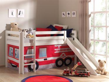 """Spielbett PINO """"Feuerwehr"""" mit Rutsche - Liegefläche 90 x 200 cm - Kiefer Weiß Massiv"""