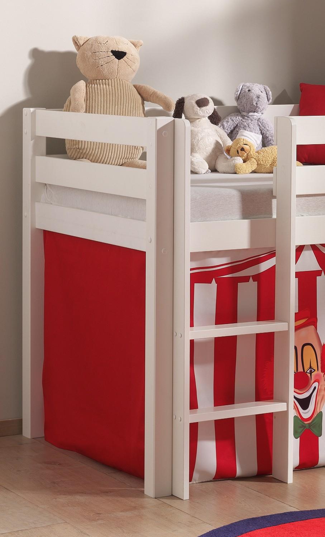spielbett pino zirkus mit rutsche liegefl che 90 x 200 cm kiefer wei massiv kinder. Black Bedroom Furniture Sets. Home Design Ideas