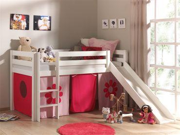 """Spielbett PINO """"Pink Flower"""" mit Rutsche - Liegefläche 90 x 200 cm - Kiefer Weiß Massiv"""