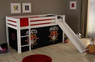 """Spielbett PINO """"Pirates"""" mit Rutsche - Liegefläche 90 x 200 cm - Kiefer Weiß Massiv"""