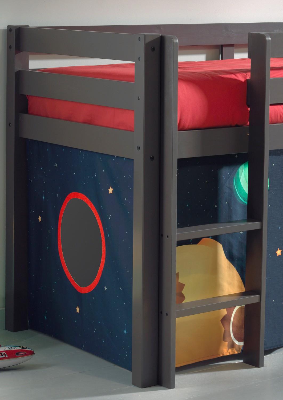 spielbett pino spaceman mit rutsche liegefl che 90 x 200 cm kiefer anthrazit massiv kinder. Black Bedroom Furniture Sets. Home Design Ideas