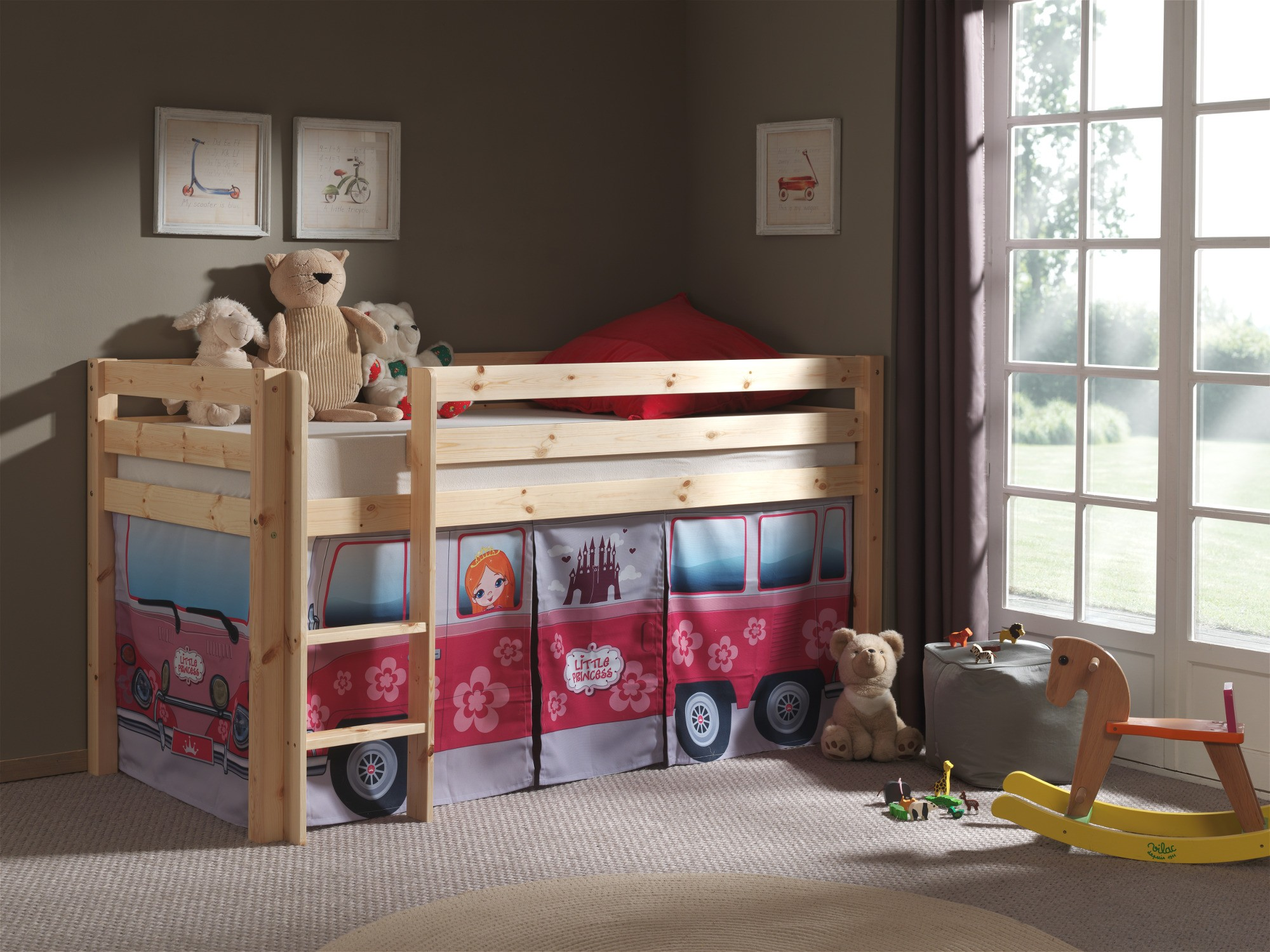 spielbett pino flower bus liegefl che 90 x 200 cm kiefer massiv kinder jugendzimmer. Black Bedroom Furniture Sets. Home Design Ideas