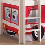 Spielbett PINO  Feuerwehr  - Liegefläche 90 x 200 cm - Kiefer Weiß Massiv