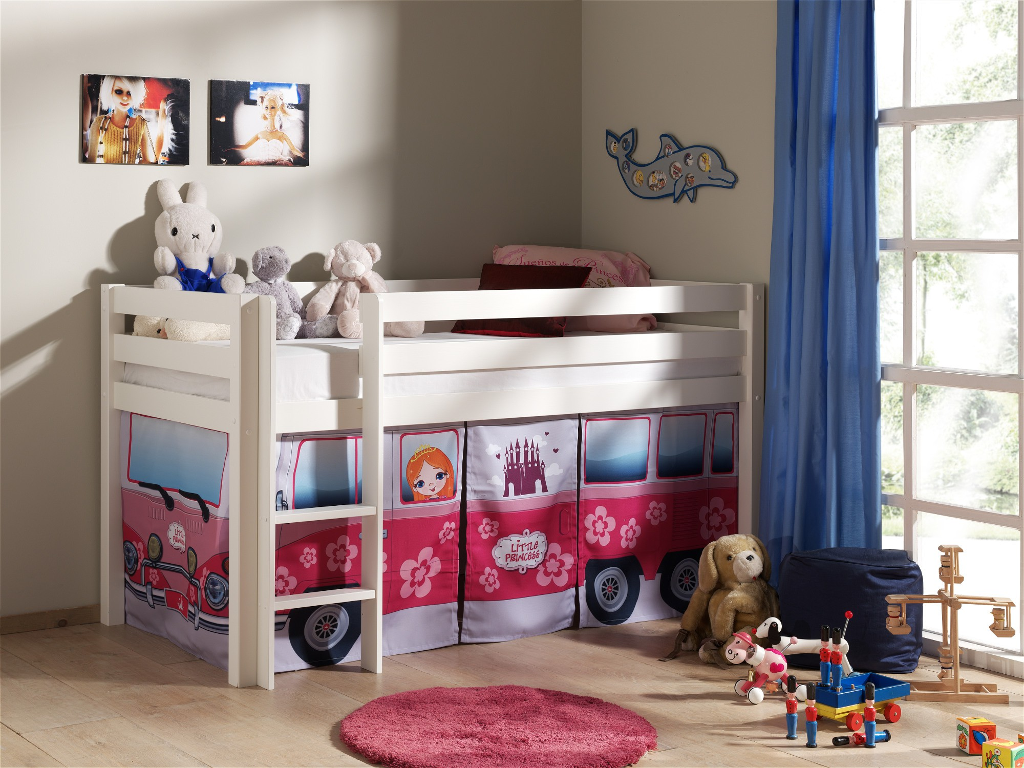 spielbett pino flower bus liegefl che 90 x 200 cm kiefer wei massiv kinder jugendzimmer. Black Bedroom Furniture Sets. Home Design Ideas