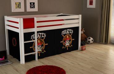 "Spielbett PINO ""Pirates"" - Liegefläche 90 x 200 cm - Kiefer Weiß Massiv"