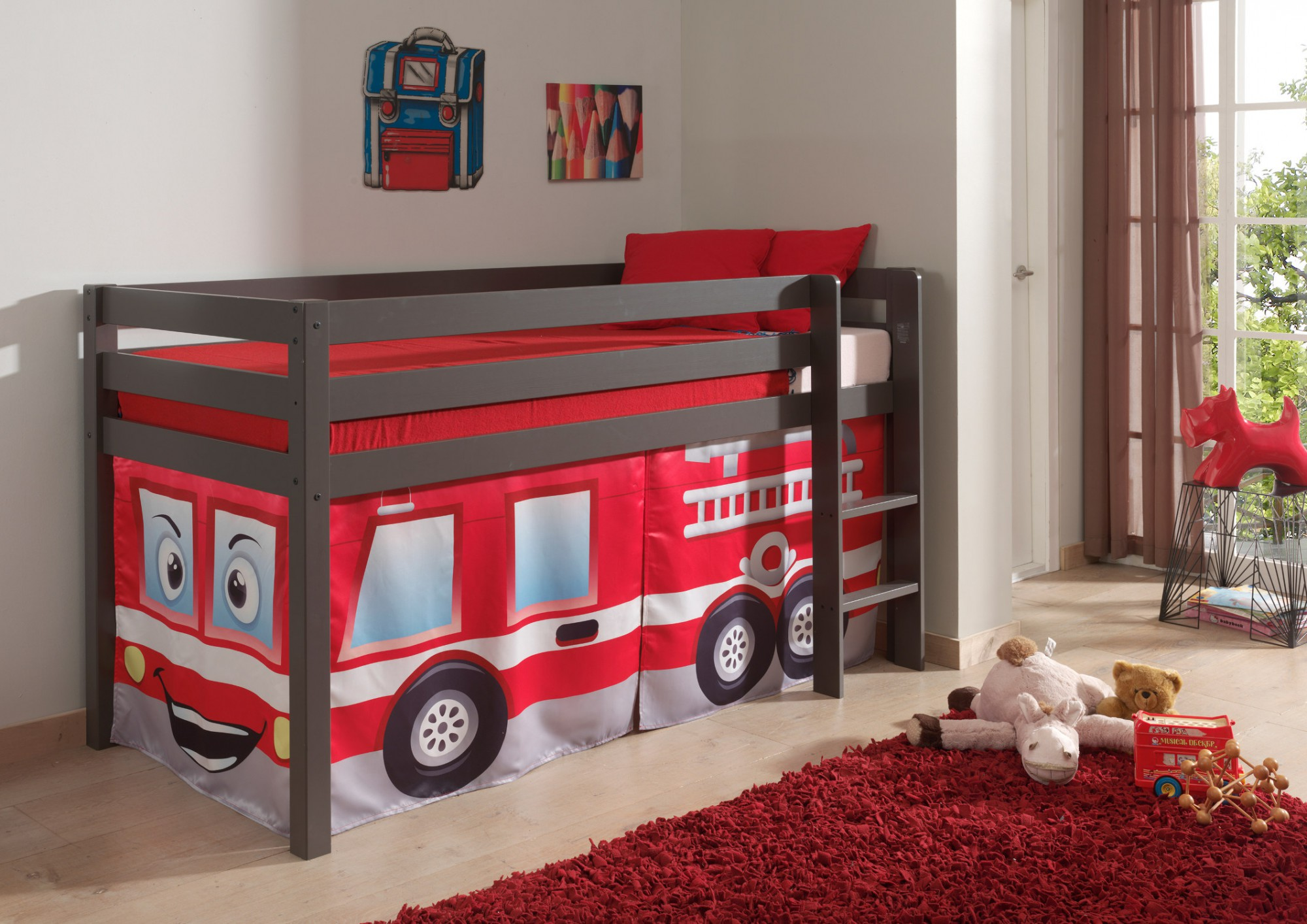 spielbett pino feuerwehr liegefl che 90 x 200 cm kiefer anthrazit massiv kinder. Black Bedroom Furniture Sets. Home Design Ideas