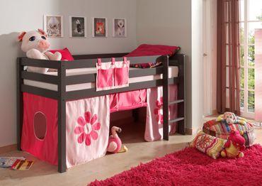 """Spielbett PINO """"Pink Flower"""" - Liegefläche 90 x 200 cm - Kiefer Anthrazit Massiv"""