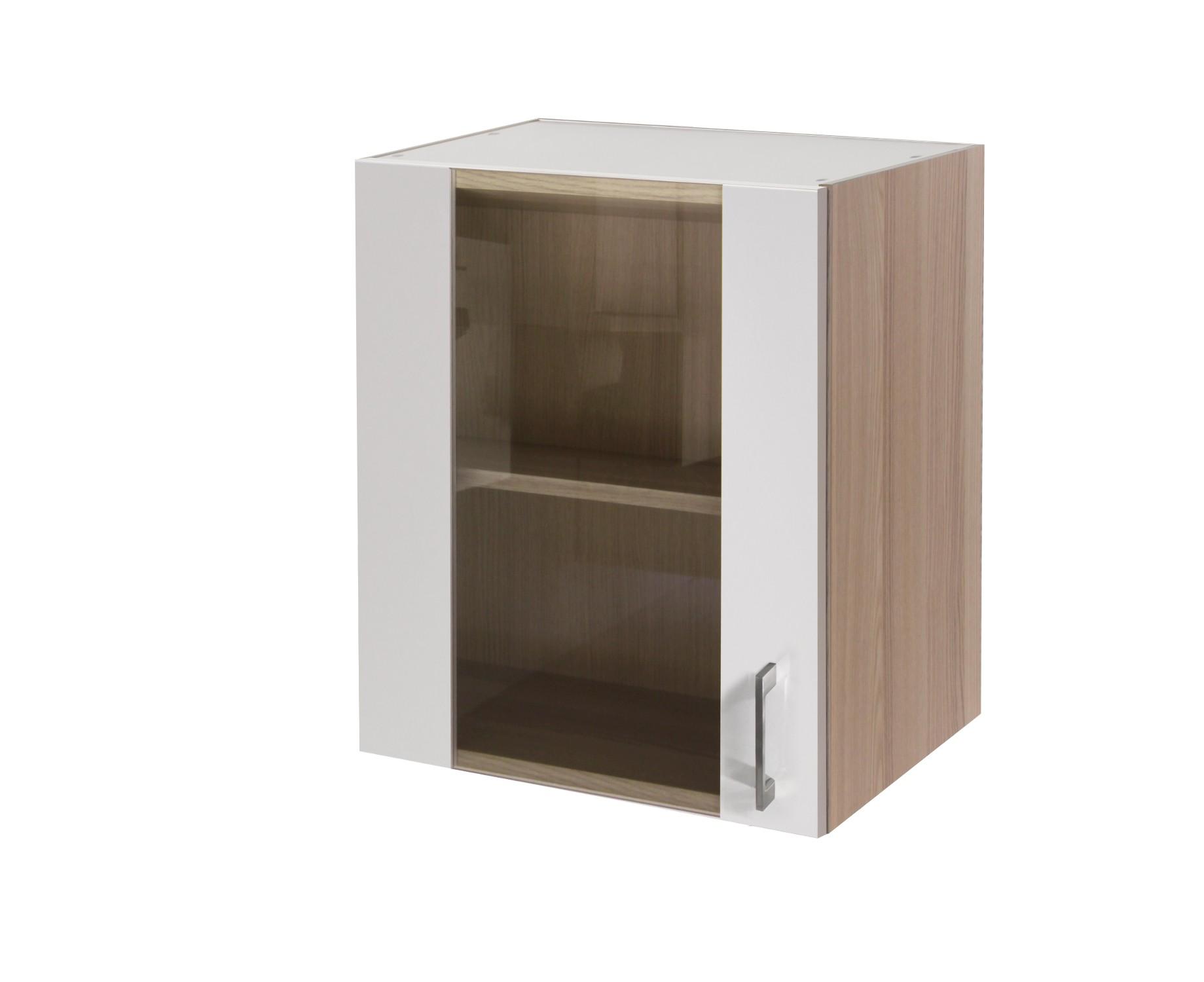 Küchen-Glashängeschrank FLORENZ - 1-türig - 50 cm breit - Perlmutt ...