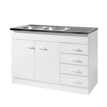 Küchen-Spülenschrank - 2-türig, 4 Schubladen - Breite 120 cm, Tiefe 60 cm - Weiß
