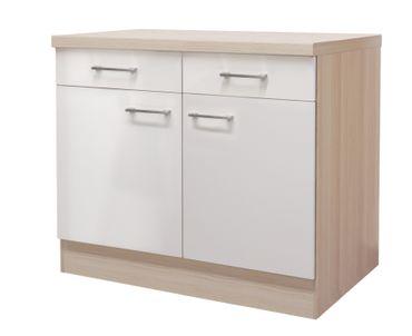 Küchen-Unterschrank FLORENZ - 2-türig - 100 cm breit - Perlmutt Weiß